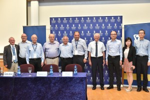 From right to left: Thomas Lau, Toni Wong ,CY Lau, Yossi Wald, Beni Soffer, Jonathan Mitchell, Technion President Prof. Peretz Lavie, Chairman of the Technion Board of Directors Gideon Frank, Gary Gannot and Executive Vice President for Research Prof. Wayne Kaplan